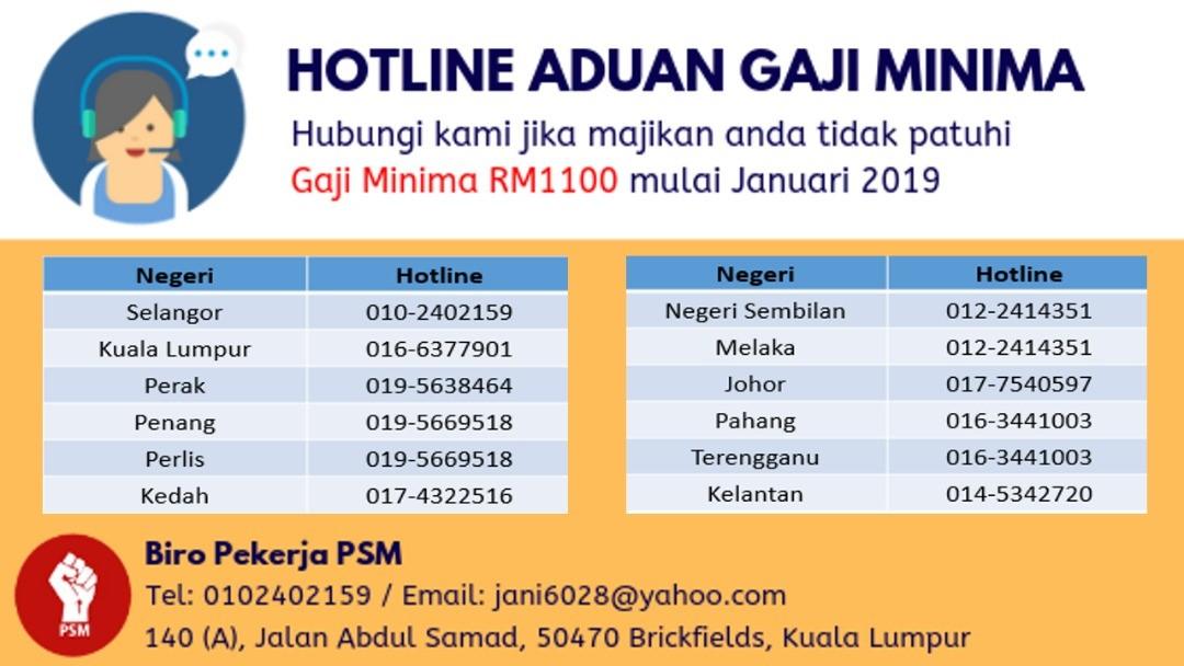 Psm Lancar Hotline Aduan Gaji Minimum Sosialis